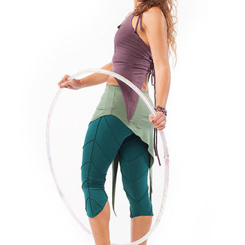 YOGA PIXIE LEGGINGS, organic cotton leggings, psy trance clothing, green leggings, festival clothing, psy leggings, yoga clothing, leafy