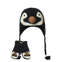 Baby Penguin Peruvian Knit Hat & Mittens Set