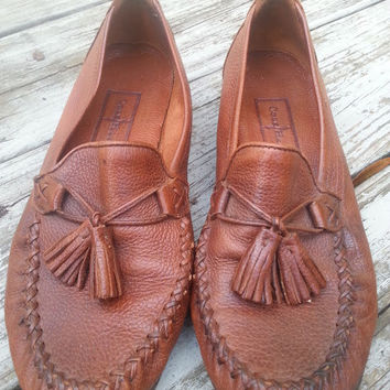 Vintage Cole Haan Brown Leather Preppy Tassle Loafers Womens Size 7.5 B