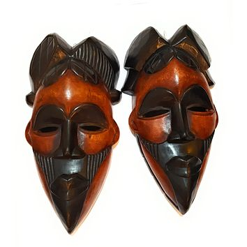 "2 Pieces of 12"" African Wood Mask: Black and Brown"