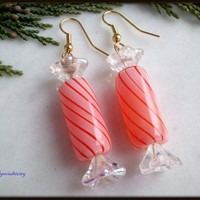 Candy Cane Red and Pink Striped Wrapped Candy Handblown Glass Earrings