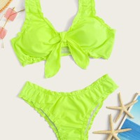 Neon Lime Knot Front Top With Lettuce Trim Bikini