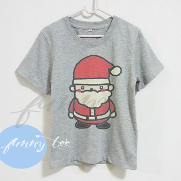 Funny Santa Claus tshirt Crew neck sweatshirt Short sleeve t shirt+off white or grey toddlers shirt >>View bust size in inches options