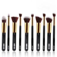 10Pcs Plastic Handle Professional Cosmetic Makeup Brush Set