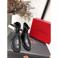 LV Louis Vuitton Trending Men Women's Black Leather Side Zip Lace-up Ankle Boots Shoes High Boots