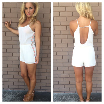 Ivory Genoa Embroidered Romper
