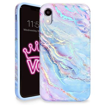 Velvet Caviar Compatible with iPhone XR Cases Marble for Girls & Women - Cute Protective Phone Case (Pink Iridescent Holographic Blue) Holo Moonstone