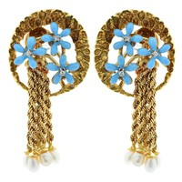 18 Karat Yellow Gold Diamond Flower Earrings
