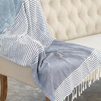India Artisan Striped Beach Blanket Tapestry Throw