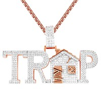Mens Hip Hop Trap House Rose Gold Tone Custom Icy Pendant