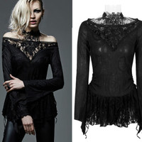 Viktorianisches Gothic Shirt Punk Rave schwarz Bluse black stretch Spitzen lace