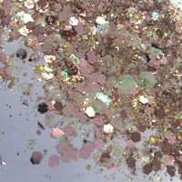 Champagne Bubbly (Chunky Loose Glitter ~6 grams): face, makeup, hair, nail art, festival glitter, costume, rave makeup, nude, tan, brown