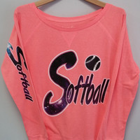 Long Sleeve Shirt - Softball Galaxy Print