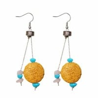 Zlyc 2014 Summer Women's Handmade Natural Lave Stone Candy Color Earring