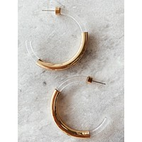 Gold Accent Tube Hoops, Clear