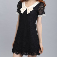 Contrast Peter Pan Collar Lace Dress