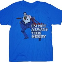 Superman Not Always This Nerdy Blue Adult T-shirt  - Superman -   TV Store Online