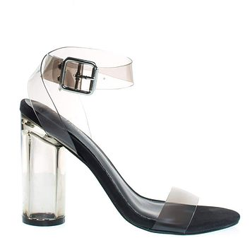 Vienna01 By Breckelle's Lucite See Through Open Toe Sandal w Perspex Block Heel