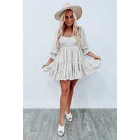 The Little Things Dress: Tan/Ivory