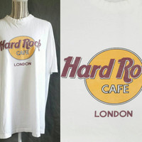 Vintage Hard Rock Cafe London Shirt, Retro Tourist 1980s Graphic T Shirt, 90s Grunge Tshirt, Burnout Tee, England, UK, Top, Hip Hop, Rocker