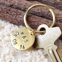Custom Anniversary Date Stamped Brass Key Ring