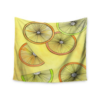 """Rosie Brown """"Lemons And Limes"""" Yellow Fruit Wall Tapestry"""