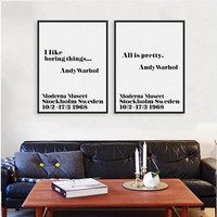 Modern Nordic Black White Minimalist Motivation Andy Warhol Life Quotes Art Print Poster Wall Picture Canvas Painting Home Decor
