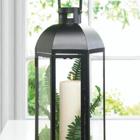 Large Domed Black Iron Candle Lantern