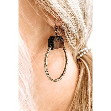 Leather & Bronze Hammered Circle Earrings