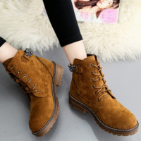 Boots wipe color retro Martin boots women with sandals with coarse boots Brown