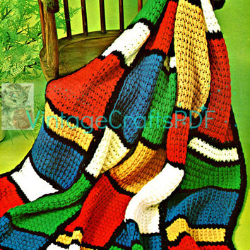 Instant Download-1970s Stained Glass Quick Crochet Afghan-Vintage Crochet Pattern-Home Decor-Easy Crochet Afghan Pattern-Fast Crochet-Crafts
