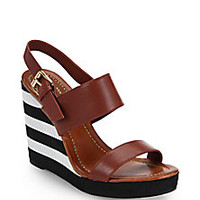 Kate Spade New York - Bina Striped-Wedge Leather Sandals - Saks Fifth Avenue Mobile