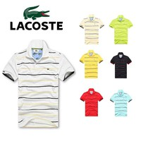Hot Sale Lacoste MEN Stripe Polo Shirt 100% COTTON TOP