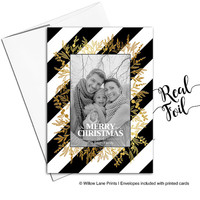 Printed Christmas Cards with photo | REAL Red Foil or Gold Foil Holiday Cards | Unique Christmas Cards | Holiday Photo Card - WLP00467