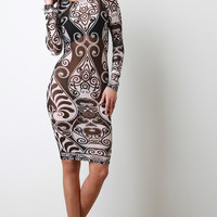 Front Mesh Long Sleeve Body Con Dress