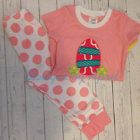 Spring Pajamas in Pink, Blue, Purple, or Green Polka Dot and Strips