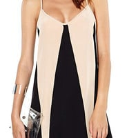 Black and Apricot Spaghetti Strap Color Block Dress