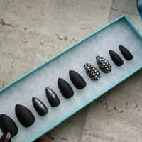 Matte Black Almond Nails | Stiletto Nails | Press On Nails | False Nails | Fake Nails