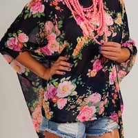 With The Flowers Top: Multi