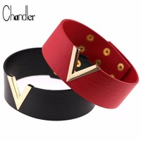 Chandler Harness Cool Punk Goth Rivet Choker Necklace Wide Leather Collares Deep V Chokers Women Men Gothic Bondage Neck Jewelry