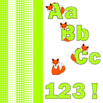 Digital Clip Art Set – Spring Polka Dot and Woodland Fox Alphabet , A-Z , Numbers ,   Green , White ,  coordinating papers INSTANT DOWNLOAD