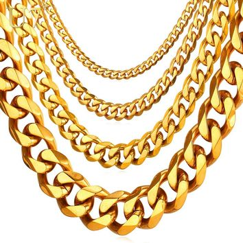 Cuban Link Chain Men Gold Stainless Steel Long/Choker Big Chunky Necklace