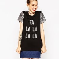 ASOS Christmas T-Shirt With Sequin Sleeves and FA LA LA LA Print
