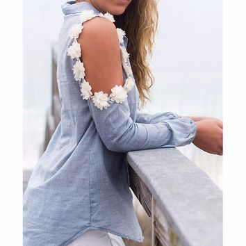 FASHION HOLLOW OUT FLOWERS GREY SHIRT