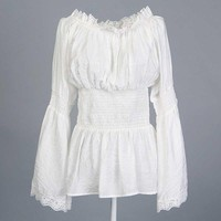 Plus Size European White Cotton&Lace Long Sleeves Sexy Gothic Style Blouse Shirt Steampunk Corset Burlesque Costumes Accessories