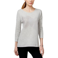 Style & Co. Womens French Terry Embellished Sweatshirt