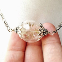 Dandelion Seed Filled Glass Wishing Orb Necklace, Small Orb In Silver or Bronze