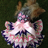 Custom Made Dog Pet Clothing Dress - Gorgeous Pink & Gold