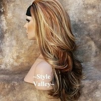 Wholesale Imitation human made Hairpiece VERY RARE COLOR MIX: Brown Red Blonde Mix Hairpiece 3/4 Wig Fall Hair Piece HOT