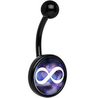 Black Titanium Galaxy White Infinity Sign Belly Ring | Body Candy Body Jewelry